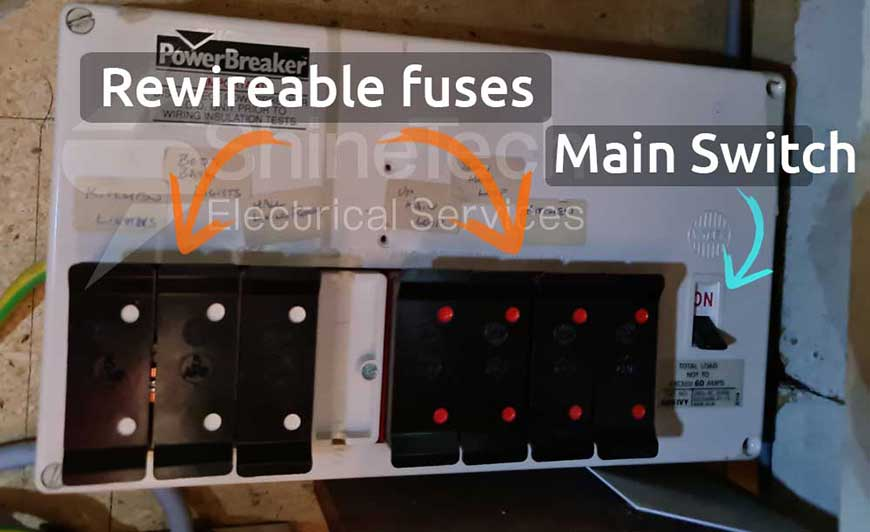 Fuse Board With Rewireable Fuses